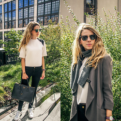 Elisa Resina - Topshop Top, Prada Bag, Guess Sneakers, Guess Scarf, Daniel Wellington Watch, Aritzia Blazer, H&M Jeans, Ray Ban Sunglasses - Summer day in Winter