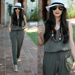Anyelina G. - Express Olive Jumpsuit, Forever 21 White Fedora, Jorge Bischoff Nude Pumps - Olive Jumpsuit