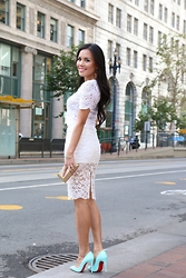 Rachel Vogt - H&M Top, H&M Skirt, Hautelook Clutch, Rocksbox Accessories, Christian Louboutin Follies Shoes - Lace on lace