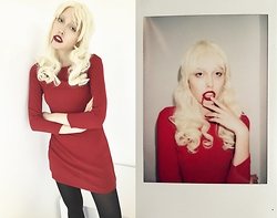 Zoë Harvey - American Apparel Red Dress, American Apparel Black Tights - American Horror Story Hotel
