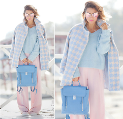 Galant-Girl Ellena - 3.1 Phillip Lim Blue Leather Backpack, Choies Pastel Coat, Joshua Sanders Glitter Shoes - My Pastel Autumn.