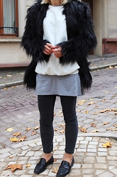 Anna Borisovna - H&M Fur Coat, H&M Sweater, H&M Jeans, Mango Loafer - Fake Fur