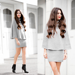 Sarah - Chic Wish Angora Cape And Skirt Set In Grey - Fall Is Better With A Cape