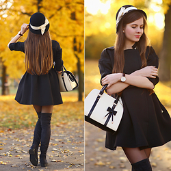 Ariadna Majewska - Black Coat, Long Black Boots - Golden autumn