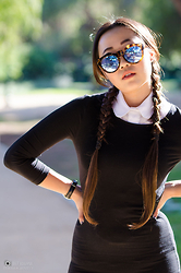 Nicole Kim - Le Specs Neo Noir Sunglasses, Irresistible Me Clip In Extensions, Forever21 Black Body Con Dress, American Apparel White Button Down, Aibi Watch Black & Silver - Wednesday
