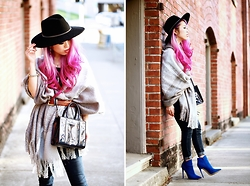 Aika Y - Forever 21 Oversized Plaid Scarf, Forever 21 Fedora, Rebecca Minkoff M.A.B Tote Mini, Asos Skinny Jeans, Justfab Cobalt Ankle Boots - Fall Layering, Scarf Into Poncho