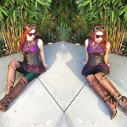 Lindsay Mulsow - Sam Edelman Thigh High Boots, Free People Plum Lace Top, Black Milk Clothing Mermemerald Leggings, Wicked Chamber Underbust Corset - Steampunk Ariel