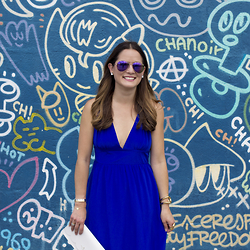 Jenn Lake - Aj Morgan Eyewear Mirrored Sunglasses, Kate Spade Crystal Earrings, Yumi Kim Cobalt Blue Maxi Dress, Giles And Brother Gold Cuff, Saint Laurent Gold Cocktail Ring, Kate Spade White Clutch - Cobalt Blue Maxi Dress