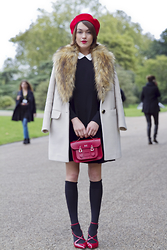 Ella Catliff - Kate Spade Coat & Dress, Cambridge Satchel Company Bag, Sergio Rossi Shoes - LFW SS16: Day 4
