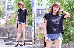 Sonya Ann Kovaleswani - Something Borrowed Tie Up Boxy Top, Something Borrowed Shredded Shorts, Forever 21 Black Heels - Preview