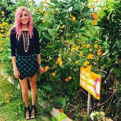 Brittany Shae - Verge Girl Lace Up Bodysuit, Nasty Gal Plaid Skort, Jeffrey Campbell Lace Up Booties - Pink Me