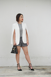 Prudence Yeo - Shein White Cape Blazer, Samantha Thavasa Gold Lock Mini Bag - SheIn White Cape Blazer