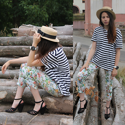 Imena Ginac - Zara Striped Shirt, Zara Flower Trousers, Asos Black Sandals - Pioneer