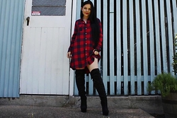 Kelsey Anderson - Cotton On Flannel Dress, Verali Black Knee High Boots - Kylie Jenner Inspired Look