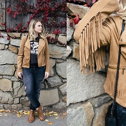 Britnie Harlow - Nordstrom Rack Suede Jacket, Free People Denim, American Eagle Outfitters Ankle Boots - Autumn tones