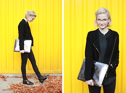 Joana ♡ - Dress For Less Clutch, Dress For Less Cardigan, Dress For Less Jeans, Dress For Less Boots, Dress For Less Blouse, Andy Wolf Glasses - Yellow.