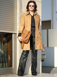 Teresa Leite - Tany Couture Self Made Tan Suede Coat, Zara Black Leather Pants, Warehouse Via Asos Leather Eyelet Wrap Belt, Parfois Suede Bag - Self-made Tan Suede Coat over All-black outfit