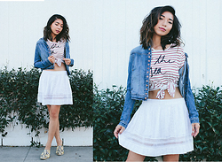 Stephanie Liu - Joe's Jeans Denim Jacket, Sundry Shirt, D.Ra Skirt - Denim Love