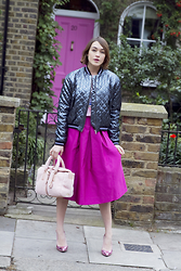Ella Catliff - Markus Lupfer Bomber Jacket, Essentiel Antwerp Skirt, Mulberry Bag, Alexander White Shoes - Shimmy Shine