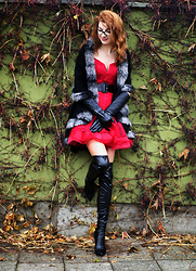 Kamila Krawczyk - Axparis Poncho, Axparis Dress, Choies Leather Boots - Red lace dress