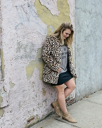 Britnie Harlow - Ste Leopard Coat, Project Social T Shirt, Leather Skirt, Forever 21 Cut Out Ankle Boots - Birthday outfit