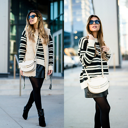 Pam Hetlinger - H&M Striped Knit Sweater, H&M Faux Fur Vest, Chloé Crossbody Bag, Isabel Marant Leather Booties - Striped
