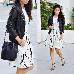 Josephine Ellen - Express Jacket, Mansur Gavriel Bag, Banana Republic Skirt, Piperlime Top, Kurt Geiger Shoes - Leather and Prints