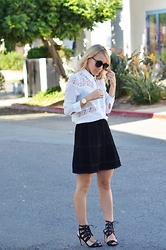 Lauren - Manolo Blahnik Strappy Heels, Free People Suede Skirt, The Line & Dot White Blouse, Saint Laurent Black Sunnies, Larsson & Jennings Gold Watch - Black, white, & girly