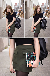 Alyssa H - Forever 21 Black Cropped Sweater, Forever 21 Green Military Skirt, Madewell Leather Backpack - Back at It