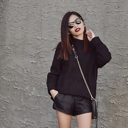 Joie M. - Oak And Fort Sweater, Zara Leather Shorts, Ray Ban Sunglasses - All Black