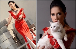 Jane E. - Jathaba Dress, Forever 21 Accessories - Red dress & white cat