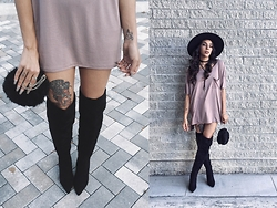 Sarah Benesh - Boohoo Maya Thigh Highs, Urban Outfitters Silence & Noise - Maven in Mauve