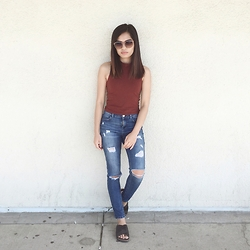 Joie M. - Forever 21 Top, Topshop Distressed Jeans - Summer Look (TBT)