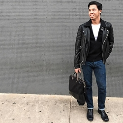Matthew Woppel - Allsaints Jacket, Jack Spade Bag - Denim & Leather