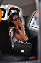 Intrigue U - Asos Sunglasses, Inga Xavier Leather Satchel, Llunaa Wrap Skirt - Black Cab