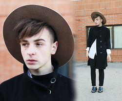Paul Conrad Schneider - Brixton Hat, Club Monaco Coat, H&M Button Up, Oak + Fort Pinstripe Pants, Zara Loafers - The Blue Neighbourhood Series: Talk Me Down