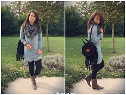 Lou M. - H&M Denim Dress, Pimkie Fringe Backpack - Denim dress and western boots