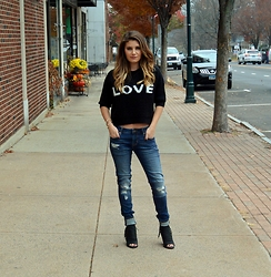 Jenna Poitras - The Dressing Room Boutique Love Cropped Sweater, Cult Of Individuality Distressed Denim, Dolce Vita Booties - Cropped Sweater and Distressed Denim