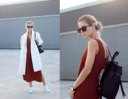 Sirma Markova - Romwe Ivory Coat, Zara Ribbed Dress, Adidas Superstar, Reserved Black Backpack, Daniel Wellington Watch, Spektre Cat Eye Sunglasses -  KNOTTED