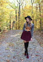 Natalie A - Forever 21 Suede Button Front Skirt, H&M Over The Knee Socks, Fox Sweater, Forever 21 Wool Hat - Like Foxes Do