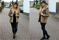 Vivien S. - Sheinside Fake Fur Coat, H&M Hat, Vero Moda Jeans, Republiq Boots - (Old) Leo Fake Fur Coat
