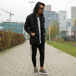 Christian Chou - Cheap Monday Liam Field Jacket, Selected Homme Lauritz Navy Check Shirt, Denham Bolt, Puma Classic Suede Khaki - ▼▽ Liam Field ▽▼