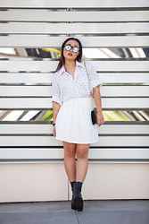 Nicole Kim - Le Specs Neo Noir Sunnies, Jet Rag Vintage Button Down, Cn Direct White Tennis Skirt, Jeffrey Campbell Famous Boot - Reflections