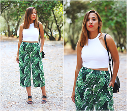 Maria Inês Ribeiro - H&M Tropical Culottes, Zara White Halter Crop Top - Tropical