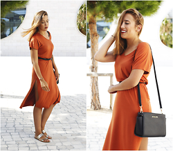 Maria Inês Ribeiro - Primark Orange Dress, Michael Kors Selma Messenger Bag - Bohemian