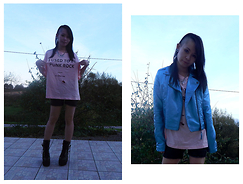 Nowaki Selenocosmia - Sheinside Destroyed T Shirt, Gemo Denim Shorts, Coolcat Blue Jacket, Sheinside Necklace, E Bay Black Boots - I used to be punk rock