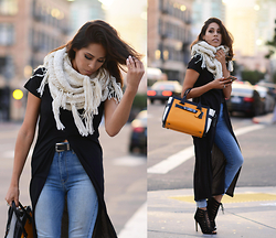 Francesca Felix - Forever21 Scarf, 7 For All Mankind High Waist Jeans, Zara Shirt, Swagger Bag - California Layers