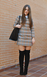 Carmen Méndez - Handmade Dress, Zara Maxibag, Zara Over The Knee Boots - Over the knee
