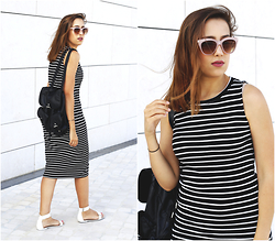 Maria Inês Ribeiro - Primark Black Backpack, Stradivarius Stripped Midi Dress, Stradivarius Pink Sunglasses - Whitestone