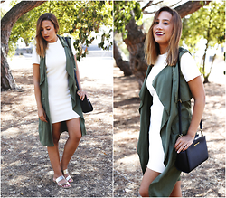 Maria Inês Ribeiro - Zara Bodycon Dress, Zara Khaki Duster, Michael Kors Selma Messenger Bag - Duster